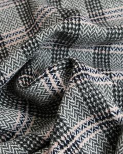 Wool Coating Fabric - Herringbone Check Grey