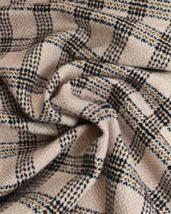 Wool Coating Fabric - Herringbone Check Pink