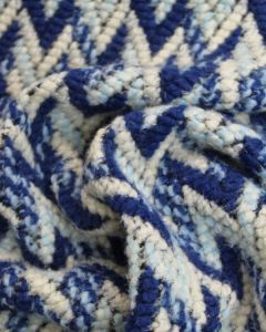 Knit Coating Fabric - Chevron Blue