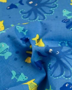 Cotton Needlecord Fabric - Under The Sea