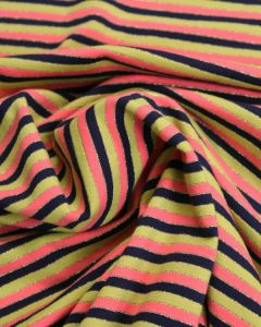 Cotton Jersey Fabric - Mustard Multi Stripe