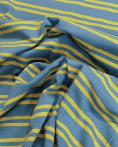 REMNANT Cotton Jersey Fabric - Double Breton Blue