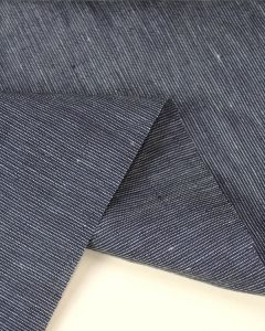 Pure Linen Fabric - Chalk Stripe Navy