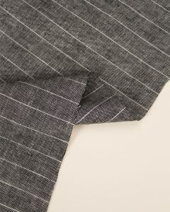 Viscose & Linen Fabric - Salt & Pepper Pinstripe