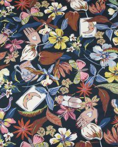 Cotton Marlie Lawn Fabric - Henna Art Noir