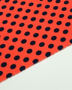 Remnant Stretch Poly Crepe Fabric - Pimento Polka
