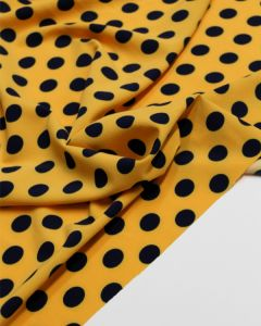 Stretch Poly Crepe Fabric - Saffron Polka