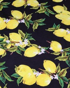Cotton Sateen Fabric - Lemon Balm Black