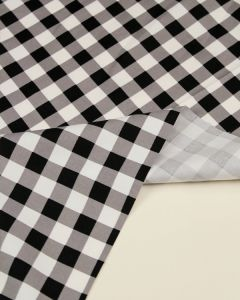 Cotton Sateen Fabric - Mono Gingham