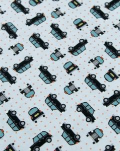 Patchwork Cotton Fabric - City Cab Sky