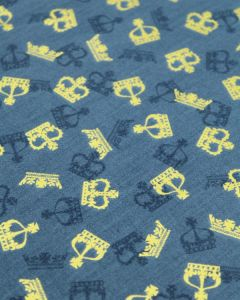Patchwork Cotton Fabric - Scatter Crowns Blue