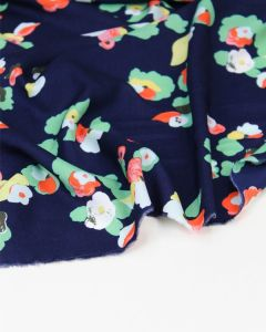 Viscose Fabric - Pop Floral Navy