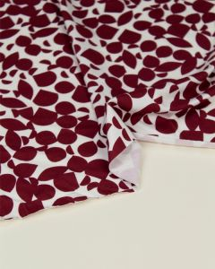 Viscose Jersey Fabric - Papercut Petals Wine