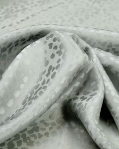 Silk Satin Jacquard Fabric - Silver Cheetah