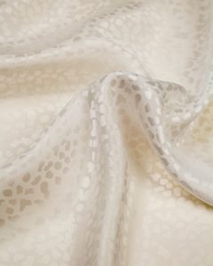 Silk Satin Jacquard Fabric - Ivory Cheetah