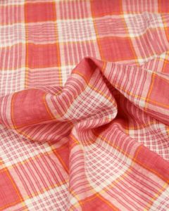 Cotton Seersucker Fabric - Sherbet Plaid