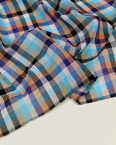 Cotton Lawn Fabric - Lagoon Check