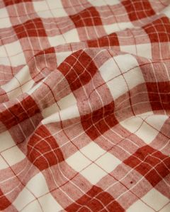 Linen Blend Check Fabric - Brick