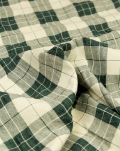Linen Blend Check Fabric - Cedar