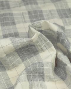 Linen Blend Check Fabric - Mist