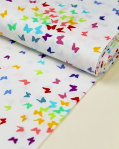 Patchwork Cotton Fabric - Rainbow Sprinkles - Butterflies White