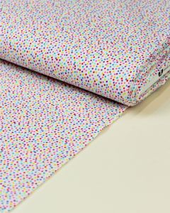 Patchwork Cotton Fabric - Rainbow Sprinkles - Packed Dots White