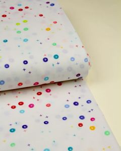 Patchwork Cotton Fabric - Rainbow Sprinkles - Buttons White
