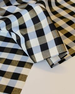 Lurex Taffeta Fabric - Black & Gold Gingham