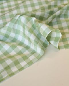 Silk Taffeta Fabric - Aloe Gingham