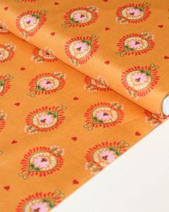 Patchwork Cotton Fabric - Maya - Frida Heart Saffron