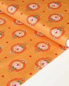 Patchwork Cotton Fabric - Maya - Frida Heart Saffron