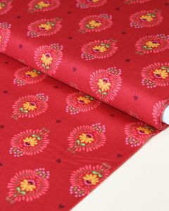 Patchwork Cotton Fabric - Maya - Frida Heart Red