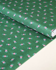 Patchwork Cotton Fabric - Maya - Folk Hearts Green