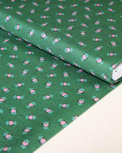 Patchwork Cotton Fabric - Maya - Folk Hearts Green