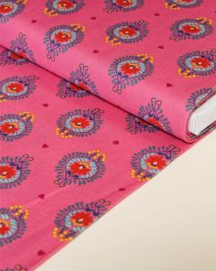Patchwork Cotton Fabric - Maya - Frida Heart Pink