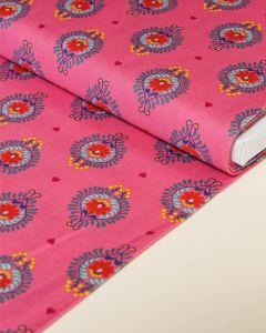 Patchwork Cotton Fabric - Maya - Frida Heart Pink