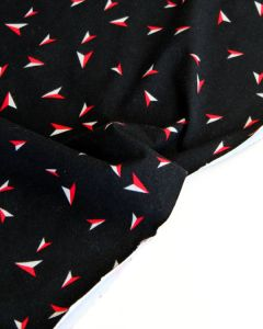 Cotton Jersey Fabric - Paper Planes Black