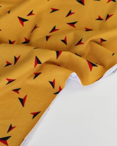 Cotton Jersey Fabric - Paper Planes Mustard