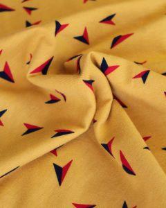 Cotton Jersey Fabric - Paper Planes Mustard
