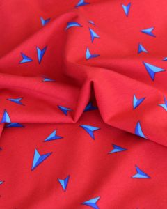 Cotton Jersey Fabric - Paper Planes Red