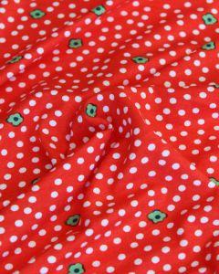 Viscose Jersey Fabric - Daisy Dot Red