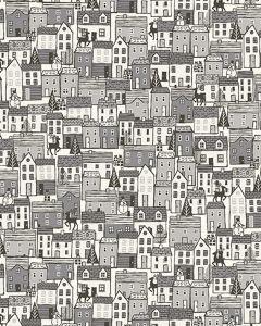 Christmas Patchwork Fabric - Scandi Houses Grey