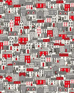 Cotton Patchwork Fabric - Scandi Houses Red