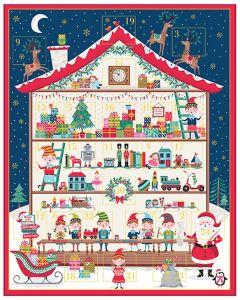 Patchwork Cotton Fabric - Santa's Workshop Advent Panel