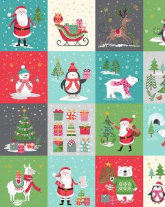 Patchwork Cotton Fabric - Let It Snow Tiles