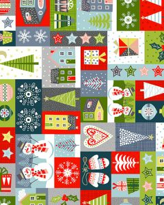 Patchwork Cotton Fabric - Joyful Christmas