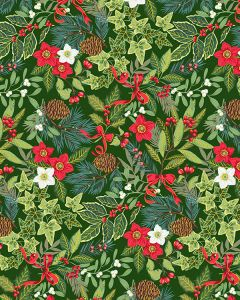 Patchwork Cotton Fabric - Yuletide Foliage Green