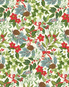Patchwork Cotton Fabric - Yuletide Foliage Ivory