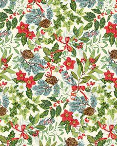 Christmas Patchwork Fabric - Yuletide Foliage Ivory