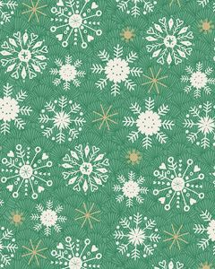Patchwork Cotton Fabric - Merry Xmas - Green Snowflake